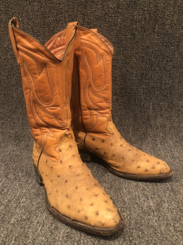 Unbranded, Handmade, Tan, Full, Quill, Ostrich, Leather, Cowboy, Boots, Mens, Size, 9