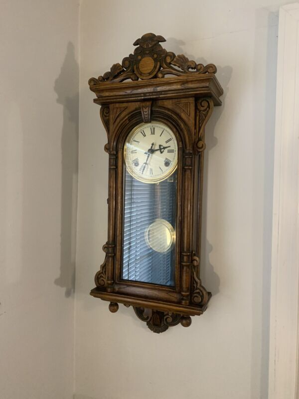 Antique Wall Clock Beautifully Carved, 8 Day, Serviced, Original, Very Clean