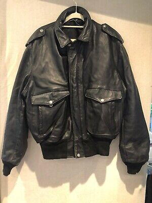 Vintage SCHOTT Black Leather A-2 Flight Bomber Jacket Biker Coat XL 46