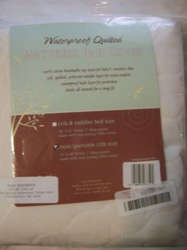TL Care® Waterproof Quilted Mattress Pad Cover for mini/portable crib NWT