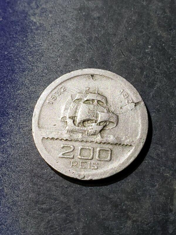 1932 Brazil 200 Reis World Coin