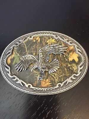 Legends West Belt Buckle American Bald Eagle W Camouflage Background Camo -