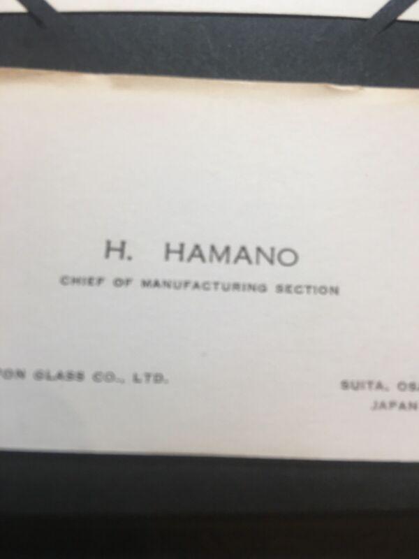 Antique VTG Business Card SHINNIPPON GLASS CO.  H. HAMANO JAPAN RARE