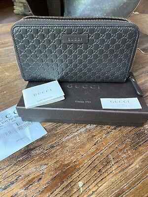 Gucci Dark Brown Microguccissima Leather Zip Around Wallet 449391 2044