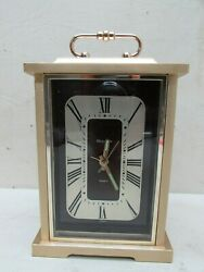 Vintage Mid Century Mod Bulova 4RE604 B7270 Mantle Desk Carriage Clock