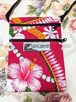 Print Small Messenger Bag - Hawaiian Print XSmall Crossbody Shoulder Messenger Bag Pink Hibiscus Flower