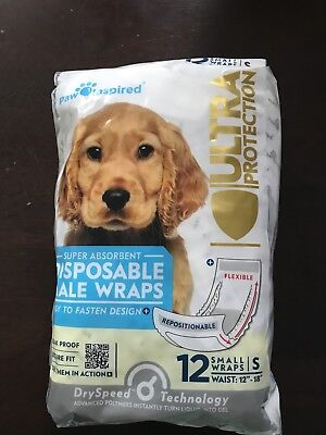 Paw Inspired Disposable Dog Puppy Male Wraps Size S Small, Brand New , 84 (Make Dog Belly Band)