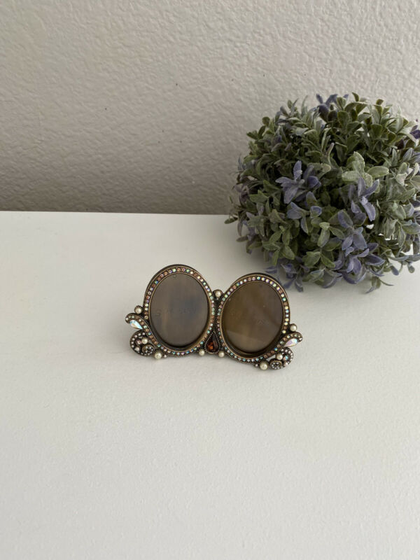 Jay Strongwater Double Oval Crystal & Pearl Frame