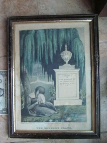 Scarce Early 1846 TINTED, FRAMED PRINT, Kellogg, Funeral, Mother Death Memorial
