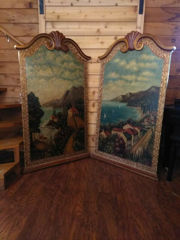 """Maitland Smith Wall Panels Hand Painted 62"""" Tall & 36-3/4"""" Wide Two Panels"""