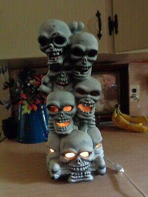 Vtg Halloween Blow Mold Tabletop Skeleton Stacking Heads Styrofoam Totem Pole