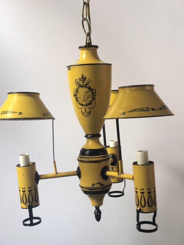 RARE! Vintage TOLE *YELLOW BLACK Metal CHANDELIER Ceiling LAMP Toleware TRIPLE
