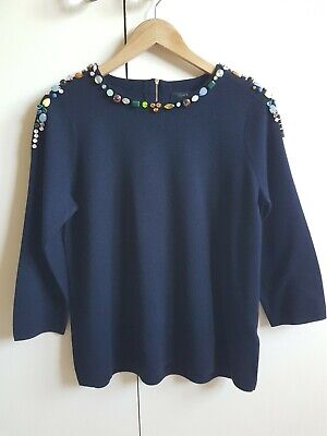 NWOT J CREW NAVY BLUE WOOL MIX JEWELLED JUMPER M UK 12 14