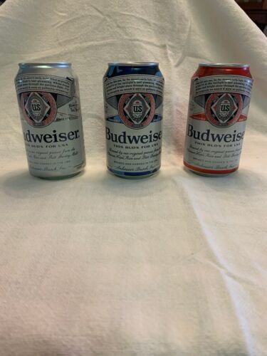 SET OF ALL 3 2020 BUDWEISER FOLDS OF HONOR BEER CANS BOTTOM OPENED