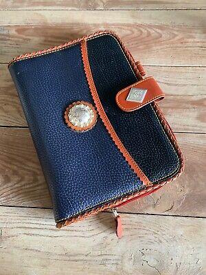 Vintage Pebbled Planner Brown Blue Western  Tooled Leather Zip Binder Boho