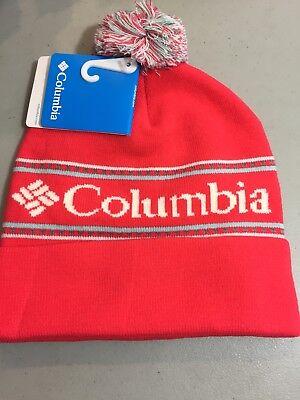 2aeca408a6d1 Women's Columbia Beanie Pom Pom Hat Ski Snowboard Red White NWT