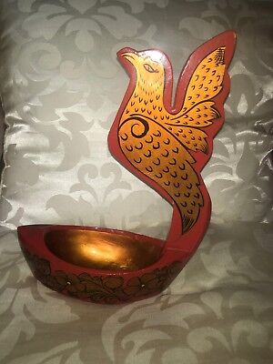 Kovsh Russian Lacquered  Drinking Vessel Decorated With Fantasy Bird Gold On Red