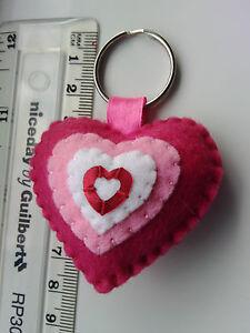 Handmade Felt Love Heart Keyring Bag Tag Family Gift Present Pink