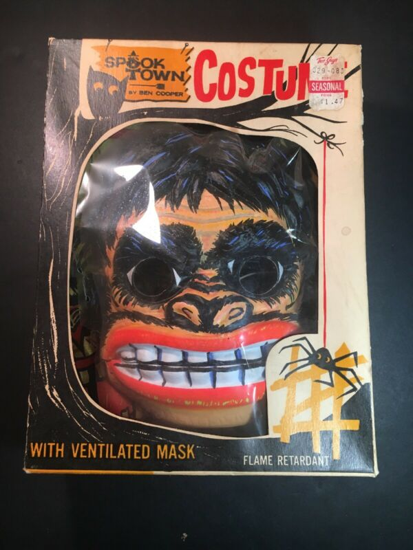 Vintage 1966 Ben Cooper King Kong Costume And Mask With Box Size Small (4-6)