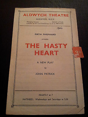 1946 ALDWYCH THEATRE PROGRAMME - THE HASTY HEART by John Patrick