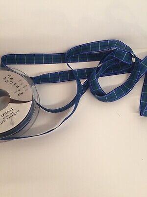 2m Berisfords Douglas Tartan Ribbon. Art.7622. 16mm Wide Douglas Tartan Ribbon