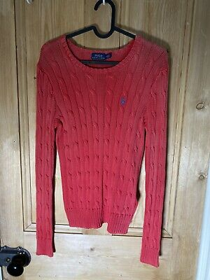 Ladies Vintage Polo Ralph Lauren Cable Knit Jumper In Pink Size M