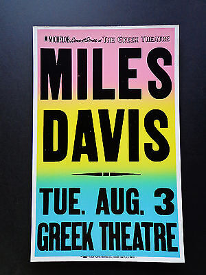 MILES DAVIS AT THE GREEK THEATRE -  ORIGINAL VINTAGE CONCERT PROMOTION POSTER