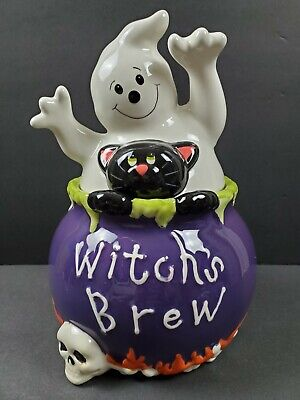 "David's Cookies Halloween ( Older ) Cookie Jar "" Witches Brew"" Ghost W/Black Cat"
