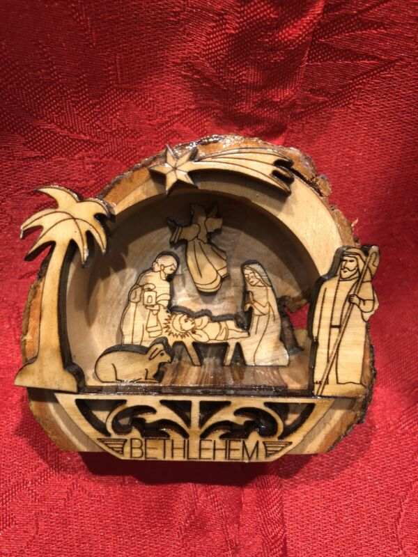Hand Carved Olive Wood Tree Nativity Scene with Set Figures Made In Bethlehem