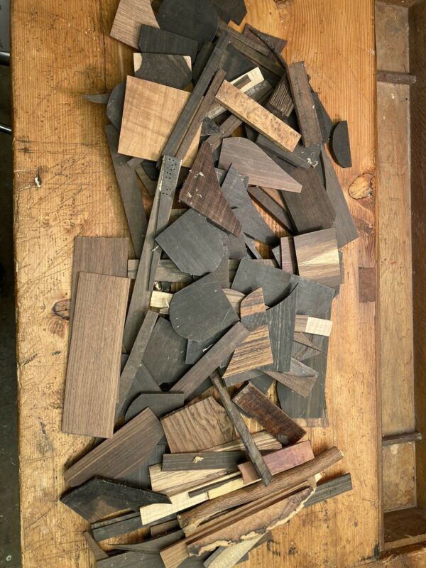 Exotic Wood Cutoffs Box LOT Gabon Ebony Brazilian Rosewood Amboyna Burl Ziricote