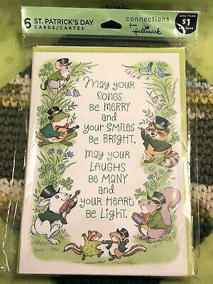 Vintage Hallmark St. Patrick's Day Cards Musical Animals 6 W/ Envelopes (St Patrick's Day Music)