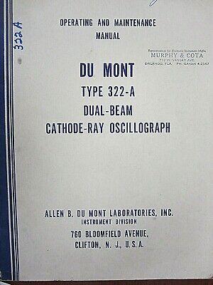 Du Mont Dual-beam Cathode-ray Oscillograph 322-a Op.maintenance Manual 67020951
