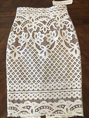 NWT FREE PEOPLE BRIDAL MINISTRY OF STYLE IVORY TAILGATE LACE PENCIL SKIRT Sz 4