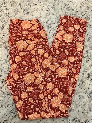 NWT LuLaRoe OS Leggings Dark Red Background w/Peach &White Flowers Poly Blend Dark Red Background