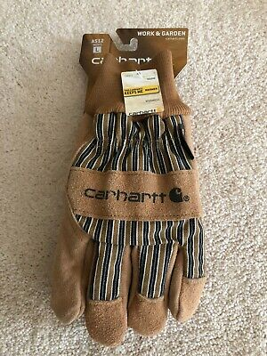 Carhartt LARGE Men's Insulated Suede Work Gloves with Knit Cuff Brown THINSULATE Carhartt Knit Glove