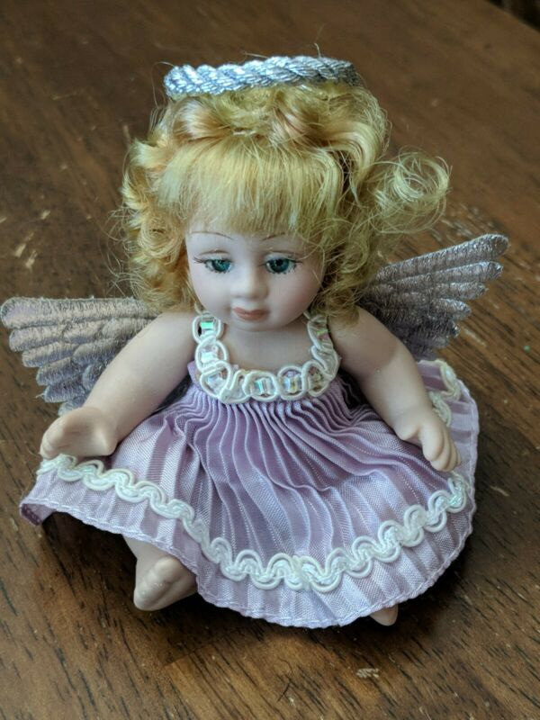 """Vintage Classic Creations Angel Baby Doll Cherub 4"""" with lavender dress"""