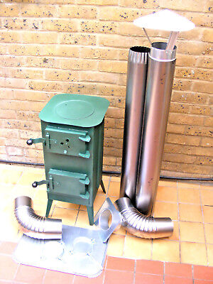 SOLID DARK GREEN WOODBURNING STOVE, WOOD LOG BURNER with 3 pipes and 3 bends