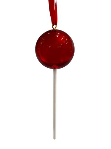 Clear Dark Red Candy Lollipop Christmas Ornament Pick Wreath Decor Prop
