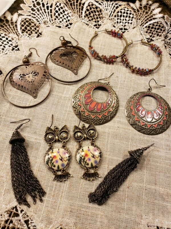 Lot Of Pierced Earrings 5 Pair 1.77 to 2.49 good condition FREE SHIPPING!