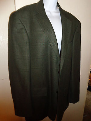 mens blazer suit jacket Nautica size 42 L (wool/cashmere blend) brown/blue plaid
