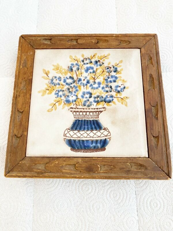 VINTAGE CEARMIC TRIVET WITH With Wood Border Flower Bouquet Made In Italy