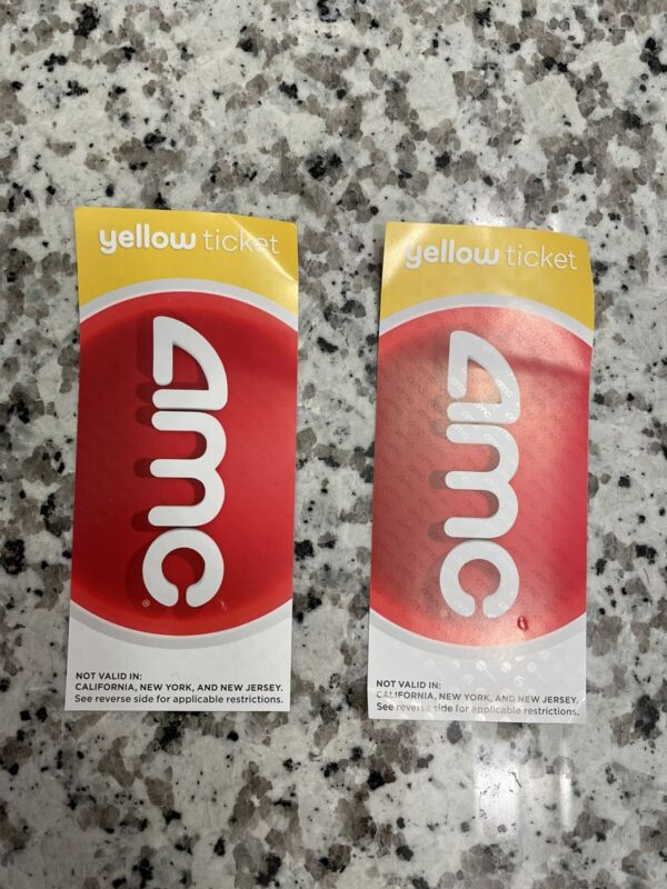 AMC Theatres 2 (Two) Yellow Movie Tickets - E-Tickets + Physical - FAST DELIVERY