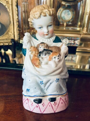 Antique figural bisque Girl with Puppies covered trinket box GREAT Victoriana!