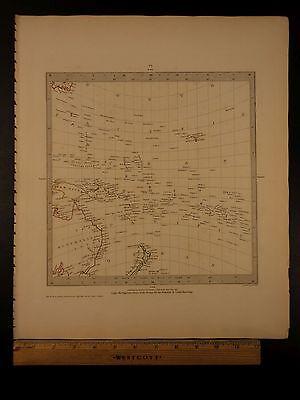 1844 BEAUTIFUL Huge Color MAP of Pacific Ocean Islands Australia Zealand ATLAS