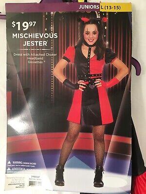 Mischievous Jester Halloween Costume Girl Size L (13-15) Theater Cosplay - Girls Jester Costume