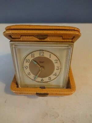 Vtg Retro Smith Empire Pocket Watch In Case Yellow Leather Working Wind Up