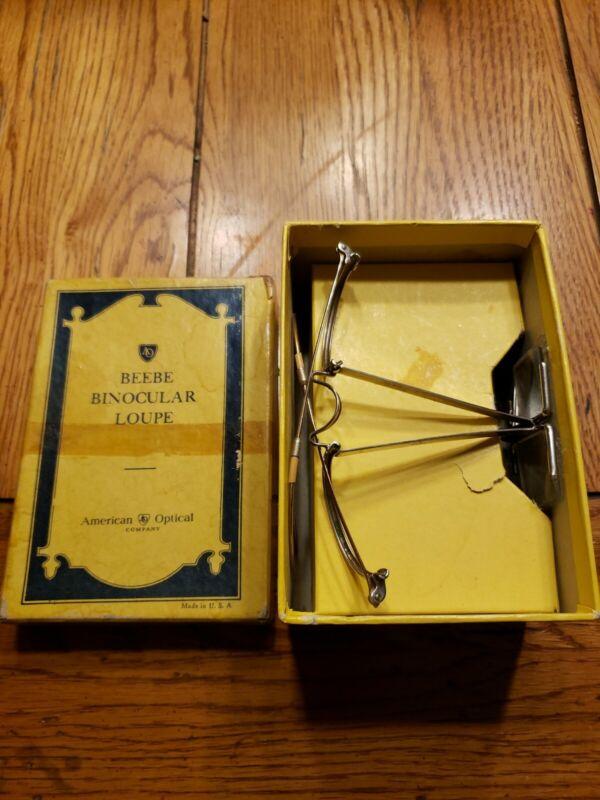 Antique American Optical Beebe Binocular Loupe Vtg Retro Magnifying Glasses 5/20