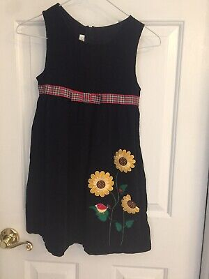 Girl's Bonnie Jean Jumper Dress Size 6x Navy Blue Corduroy Embellished Flowers