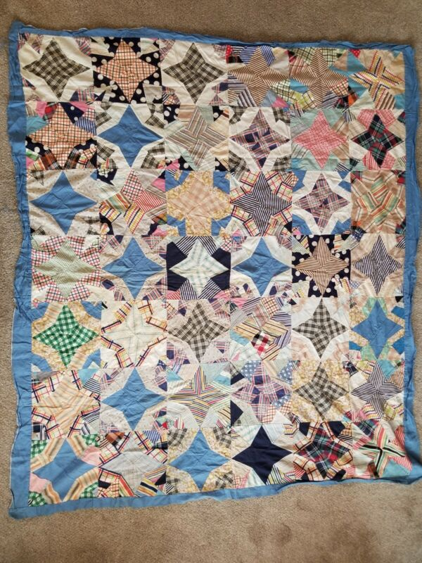 """Vintage Star Pattern Patchwork Quilt Top 64"""" x 74"""" Hand Made Top Only"""