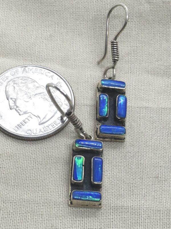 """Sterling Silver 1.5"""" Blue Fire Opal VTG Mexico Earrings 6.2g (16-13)"""